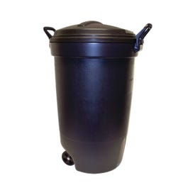 United Solutions RM133901 Trash Can, 32 gal Capacity, Plastic, Black, Snap-Fit Lid Closure