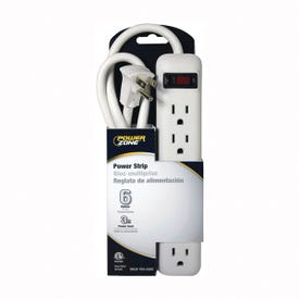 Powerzone OR801124 Power Outlet Strip, 6-Socket, 15 A, 36 in L Cable, White