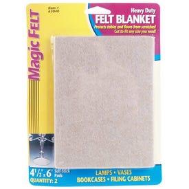 MAGIC SLIDERS 63040 Heavy-Duty Protective Blanket, Felt, Oatmeal, 6 in L, 4-1/2 in W, Rectangle