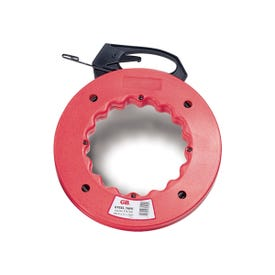 GB FTS Series FTS-50B Fish Tape, 1/8 in Tape, 50 ft L Tape, Steel Tape, Red Case