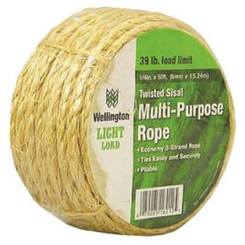 Wellington 16212 Rope, 39 lb Working Load Limit, 50 ft L, 1/4 in Dia, Sisal
