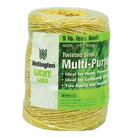Wellington 43887 1-Ply Sisal Twine, 5 lb Weight Capacity, 400 ft L, Natural Tan