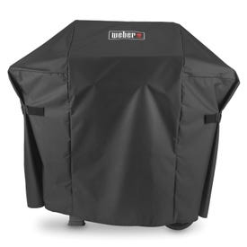 Weber 7138 Premium Grill Cover, 48 in W, 17.7 in D, 42 in H, Polyester, Black