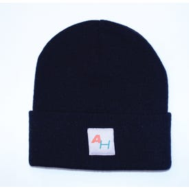 Knit Watch Hat with AH Logo Black