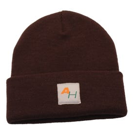 Knit Watch Hat with AH Logo Brown