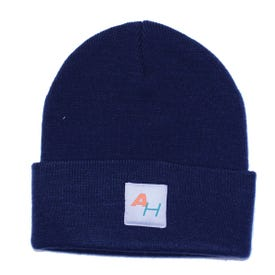 Knit Watch Hat with AH Logo Dark Blue