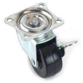 MAGIC SLIDERS 32210 Swivel Caster Wheel, 2 in Dia Wheel, 125 lb Load, Rubber, Black
