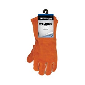 ForneyHide 55206 Welding Gloves, Men's, L, Gauntlet Cuff, Leather Palm, Orange, Wing Thumb, Leather Back