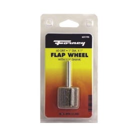 Forney 60190 Flap Wheel, 1 in Dia, 1 in Thick, 1/4 in Arbor, 60 Grit, Aluminum Oxide Abrasive
