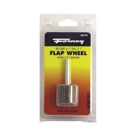 Forney 60191 Flap Wheel, 1 in Dia, 1 in Thick, 1/4 in Arbor, 80 Grit, Aluminum Oxide Abrasive