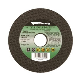 Forney 71852 Cut-Off Wheel, 4-1/2 in Dia, 1/16 in Thick, 7/8 in Arbor, 24 Grit, Coarse, Silicone Carbide Abrasive
