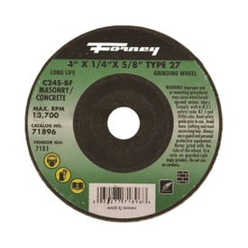 Forney 71896 Grinding Wheel, 4 in Dia, 1/4 in Thick, 5/8 in Arbor, 24 Grit, Silicone Carbide Abrasive