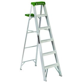 Louisville AS4006 Step Ladder, 225 lb Weight Capacity, 5-Step, 68.455 in H Open, Aluminum
