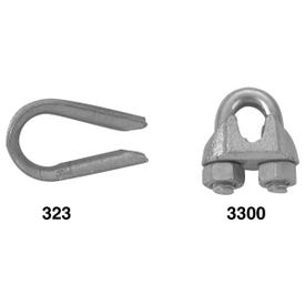 Campbell T7670419 Wire Rope Clip, 1/8 in Opening, Malleable Iron, Electro-Galvanized