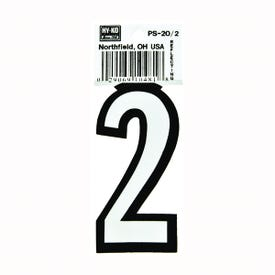 HY-KO PS-20/2 Reflective Sign, Character: 2, 3-1/4 in H Character, Black/White Character, Vinyl