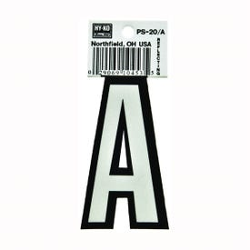 HY-KO PS-20/A Reflective Letter, Character: A, 3-1/4 in H Character, Black/White Character, Vinyl