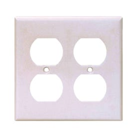 Arrow Hart 2150W-BOX Wallplate, 4-1/2 in L, 4.56 in W, 2-Gang, Thermoset, White, High-Gloss, Box Mounting