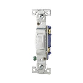 Eaton Cooper Wiring 01451-02W Toggle Switch, 15 A, 120 VAC, Thermoplastic Housing Material, White