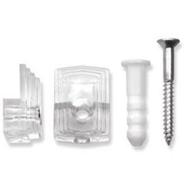 OOK 50225 Mirror Clip Set, 20 lb, Plastic, Clear, Wall Mounting