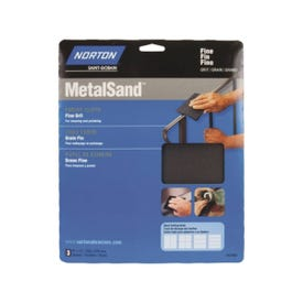 NORTON MetalSand 07660747805 Sanding Sheet, 11 in L, 9 in W, Fine, Emery Cloth Abrasive, Cloth Backing