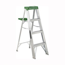 Louisville AS4004 Step Ladder, 102 in Max Reach H, 3-Step, 225 lb, Type II Duty Rating, 3 in D Step, Aluminum