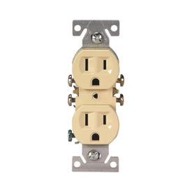 Eaton Wiring Devices 270V-C Duplex Receptacle, 2-Pole, 15 A, 125 V, Push-in, Side Wiring, NEMA: 5-15R, Ivory