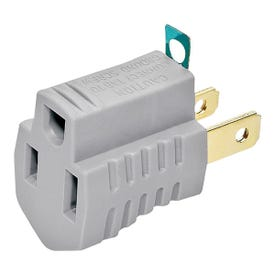 Eaton Wiring Devices 419GY Outlet Adapter with Grounding Lug, 2-Pole, 15 A, 125 V, 1-Outlet, NEMA: 1-15 to 5-15, Gray
