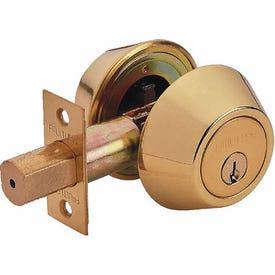 Tell Manufacturing RL100213 Deadbolt, 3 Grade, Keyed Key, Steel, Bright Brass, 2-3/8, 2-3/4 in Backset
