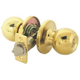 Tell Manufacturing RL100163 Entry Door Lock, 3 Grade, Steel, Bright Brass, Knob Handle, 2-3/8, 2-3/4 in Backset
