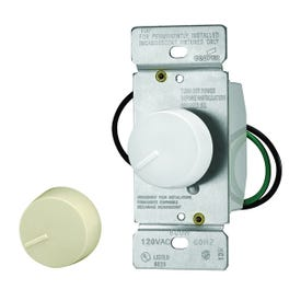 Eaton Wiring Devices RI061-VW-K2 Rotary Dimmer, 120 V, 600 W, Halogen, Incandescent Lamp, 3-Way, Ivory/White