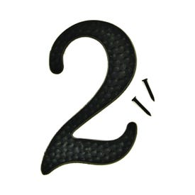 HY-KO DC-3/2 House Number, Character: 2, 3-1/2 in H Character, 2 in W Character, Black Character, Aluminum