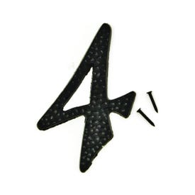 HY-KO DC-3/4 House Number, Character: 4, 3-1/2 in H Character, 2 in W Character, Black Character, Aluminum