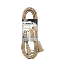 Prime EC680509L SPT-3 Type Extension Cord, 14 AWG Cable, Grounded Plug, 9 ft L, 15 A, 125 V, Gray Jacket