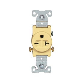 Eaton Wiring Devices 1876V-BOX Single Receptacle, 2-Pole, 250 V, 20 A, Side Wiring, NEMA: 6-20R, Ivory