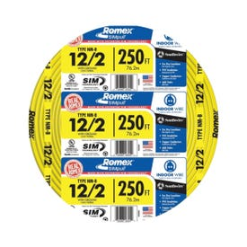 Southwire 12/2NM-WGX250 Type NM-B Sheathed Cable, 12 AWG, 250 ft L, Yellow Nylon Sheath