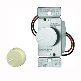 Eaton Wiring Devices RI306P-VW-K2 Rotary Dimmer, 20 A, 120 V, 600 W, 3-Way, Ivory/White