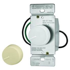 Eaton Wiring Devices RI06P-VW-K2 Rotary Dimmer, 120 V, 600 W, Halogen, Incandescent Lamp, 3-Way, Ivory/White