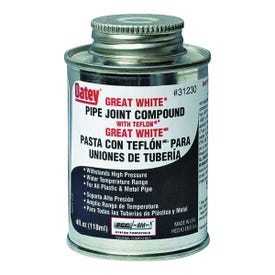 Oatey Great White 31230 Pipe Joint Compound, 4 oz Can, Liquid, Paste, White
