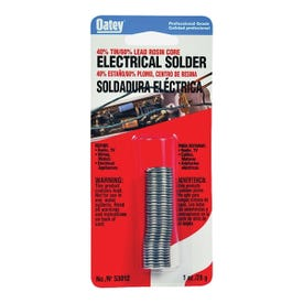 Oatey 53012 Rosin Core Solder, 1 oz Carded, Solid, Silver, 361 to 460 deg F Melting Point
