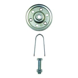 Prime-Line GD 52109 Pulley with Strap and Axle Bolt, 3 in Dia, 5/16 in Dia Bore, Galvanized Steel