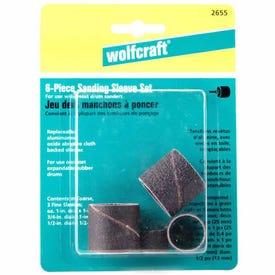 Wolfcraft 2655404 Sanding Sleeve, 1/4 in Dia Shank, Aluminum Oxide Abrasive, Cloth Backing