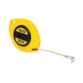 STANLEY 34-106 Measuring Tape, 100 ft L Blade, 3/8 in W Blade, Steel Blade, ABS Case, Yellow Case