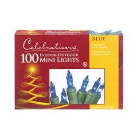 Celebrations Incandescent Mini Blue 100  String Lights 20' Green Wire Electric