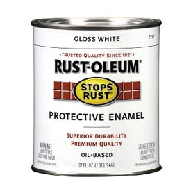 RUST-OLEUM STOPS RUST 7792504 Protective Enamel, Gloss, White, 1 qt Can