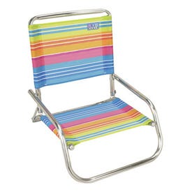 Rio Brands SC580-1601 Beach Chair, 20-1/4 in W, 23-1/4 in H, Steel Frame, White Frame, Polyester Seat