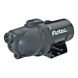 Flotec FP4012-10 Jet Pump, 9.4 A, 115/230 V, 0.5 hp, 1-1/4 in Suction, 1 in Discharge Connection, 25 ft Max Head
