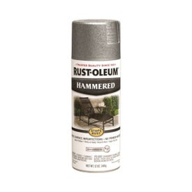 RUST-OLEUM STOPS RUST 7213830 Spray Paint, Hammered, Silver, 12 oz, Aerosol Can