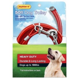 RUFFIN'IT 29450 Tie-Out Cable with Dog Trolley, Swivel Snap End, 10 ft L Belt/Cable, Steel, Red