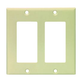 Eaton Cooper Wiring 2152 Series 2152V-BOX Wallplate, 4-1/2 in L, 4.56 in W, 4-Gang, Thermoset, Ivory, High-Gloss