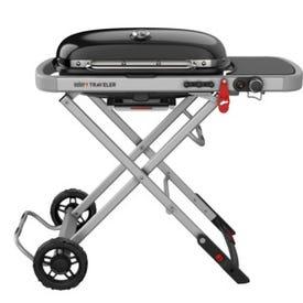 Weber Traveler 9010001 Portable Gas Grill, 13,000 Btu/hr, Liquid Propane, 1-Burner, Side Shelf Included: Yes
